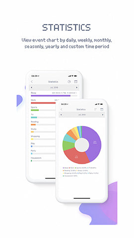 image of productivity phone application called blockytime showing highlighting its ability to keep track of your schedules and also help keep statistics of your time spent