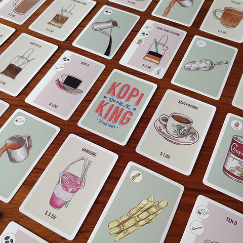 image of cards from singapore local card game called kopi king inspired by singaporean coffee shops drinks and beverages