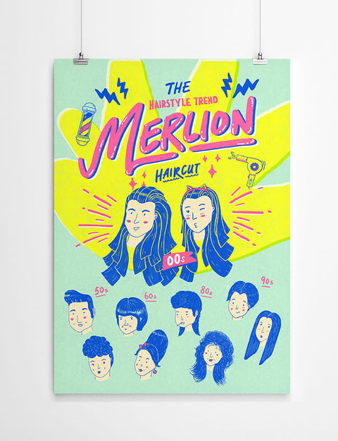 Merlion Hairstyle Wall Poster