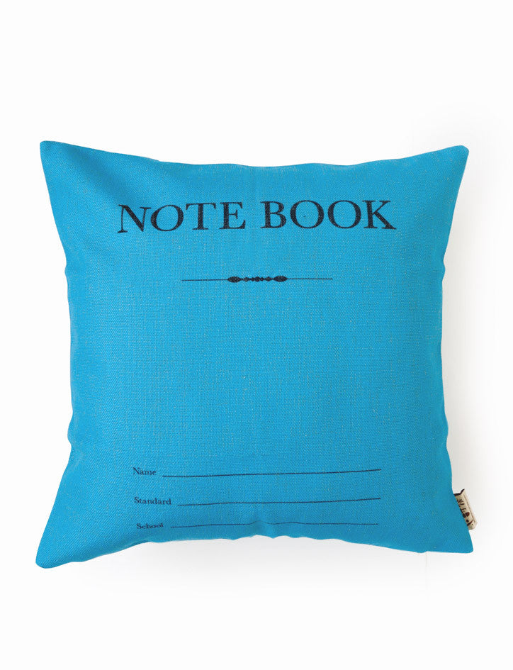 old school singapore blue notebook cushion cover
