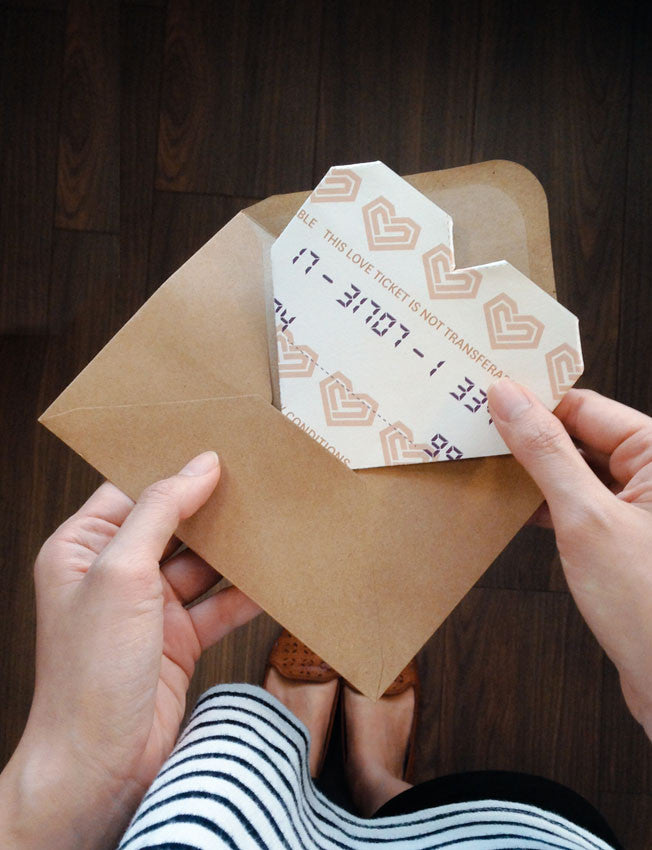 Old-School Bus Ticket Heart-Shaped Origami