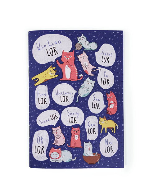 "Singlish ""Lor"" Dark blue A6 Notebook with cat designs"