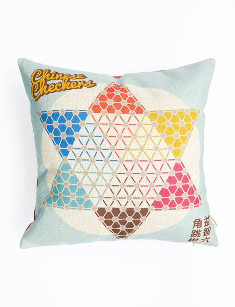 Square Cushion Cover with Chinese Checkers design