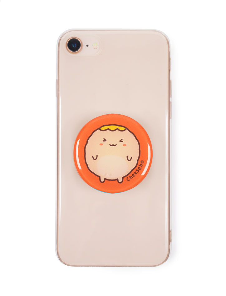 Orange pop socket with cute cheeseball character