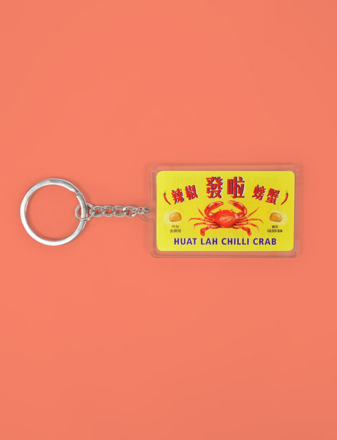 Chilli Crab Hawker Stall Signage Keychain in yellow