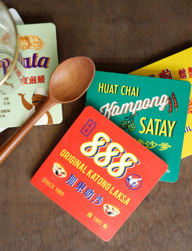 set of four singapore hawker food coasters