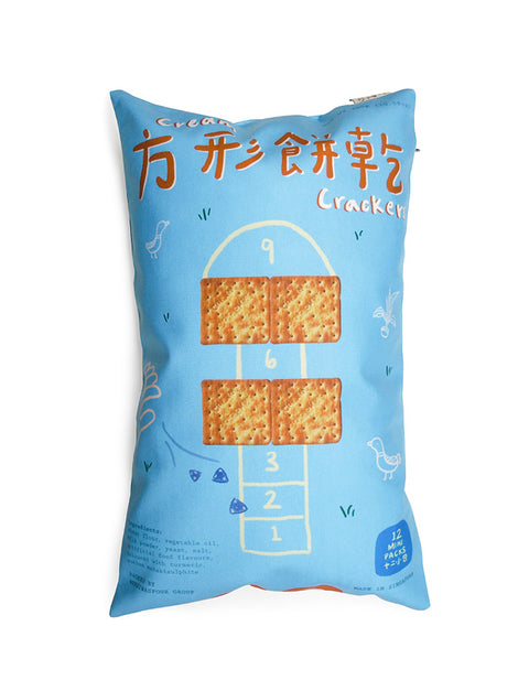 Old-School Snacks - Cream Crackers Cushion Cover in light blue with hopscotch designs