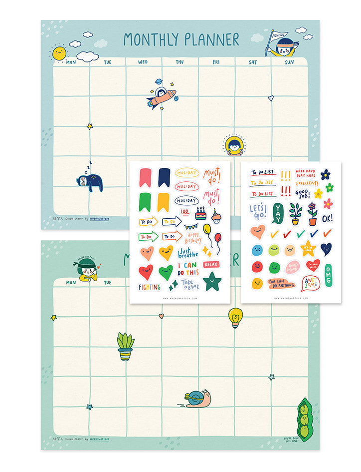 Cute and motivational monthly desk planner for yourself with bubbly and colourful stickers