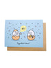 hard boiled eggs saying eggcellent card