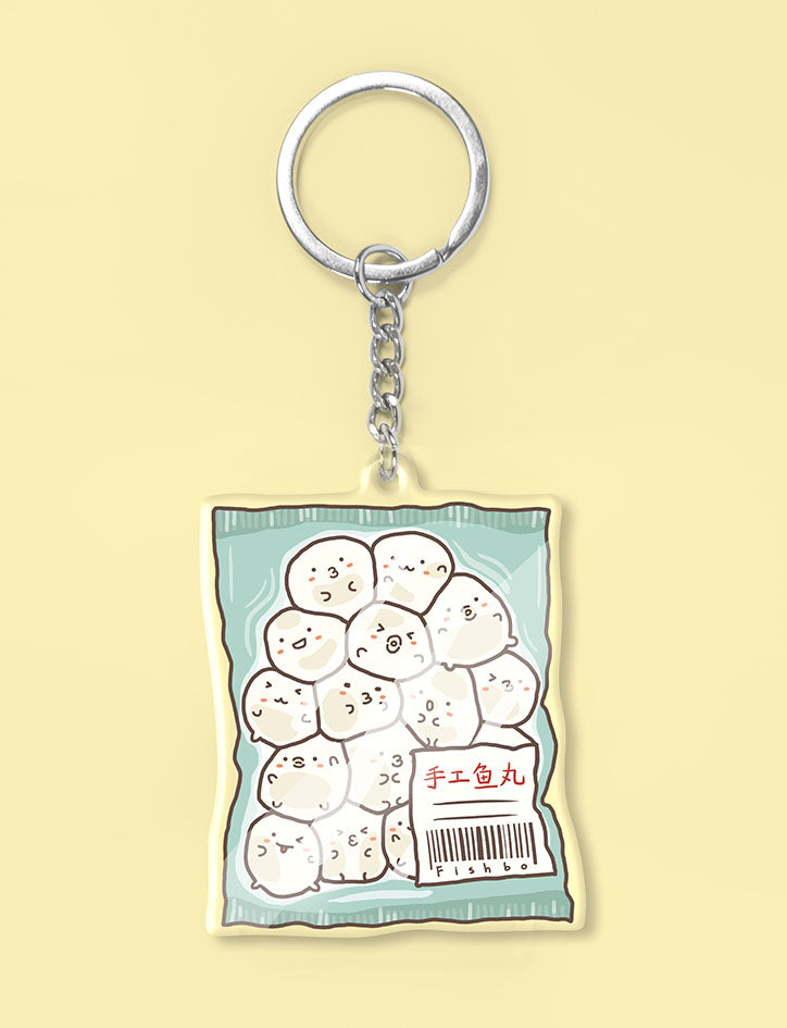 Cute fishball characters in fishbo pack keychain
