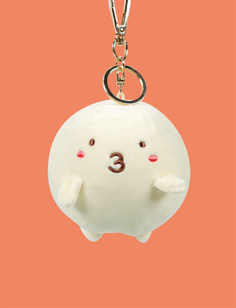 Cute fishball characters as plushie keychains with cute kissy face expression ( °3°)