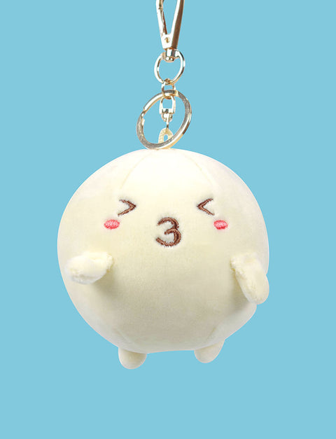Cute fishball character with kissy expression ( >з<) plushie keychain