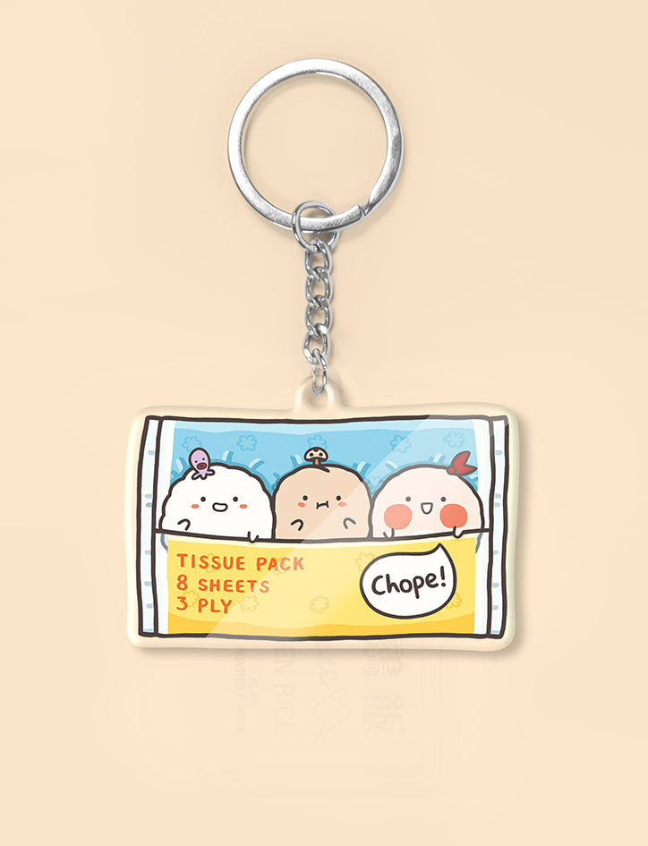 Three cute sumoboru characters in a tissue packet as a keychain