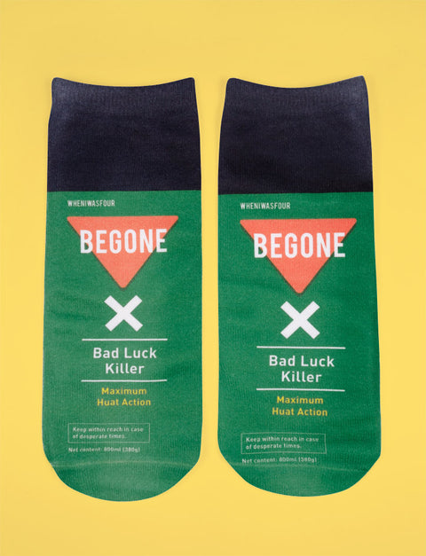 Quirky unisex socks inspired by Begone insecticide
