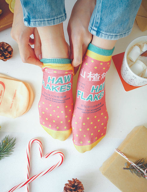 Quirky unisex socks inspired Mama Shop snacks - Haw Flakes