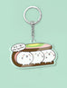 Cute fishball characters as icecream scoops in classic icecream sandwich keychain