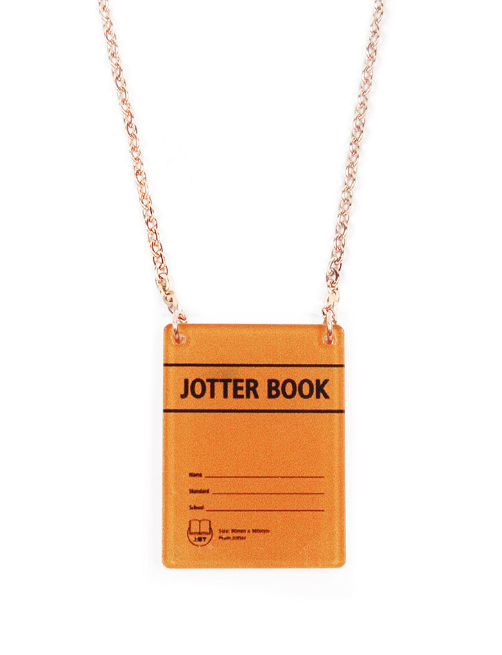 Orange rectangular necklace with nostalgic jotter book design