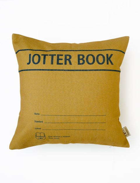 Jotter Book Square Cushion Cover in brown