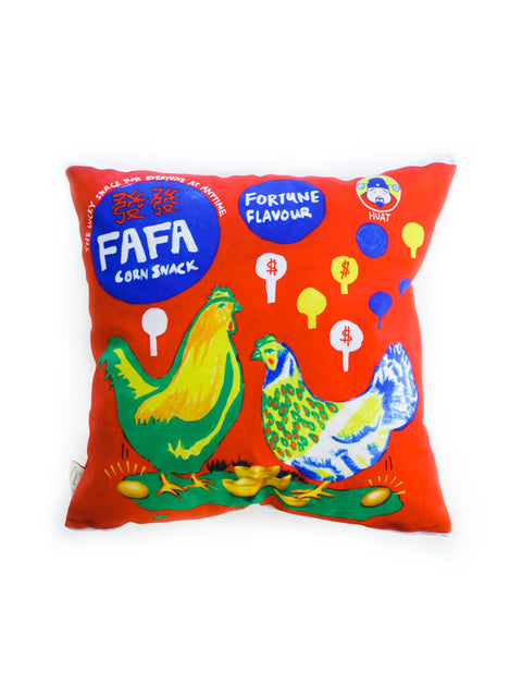 Old-School Singapore Snacks - Kaka Cushion Cover in red with chickens