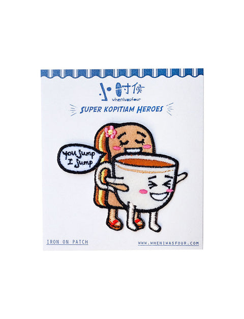 Cute and quirky iron-on patches - Super Kopitiam Heroes: Kopi-O and Kaya Toast