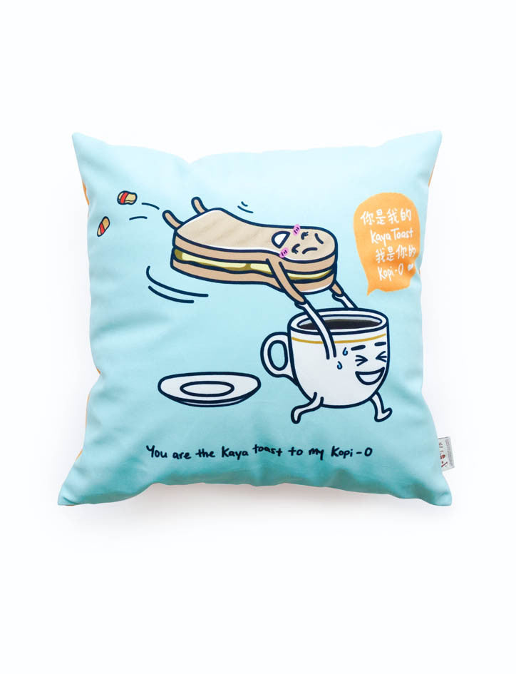 Local-flavoured Gifts - Kopi-O and Kaya Toast Cushion Cover in light blue