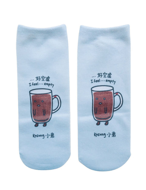Unique and quirky unisex socks inspired by Kopitiam Superheroes - Kopi Kosong