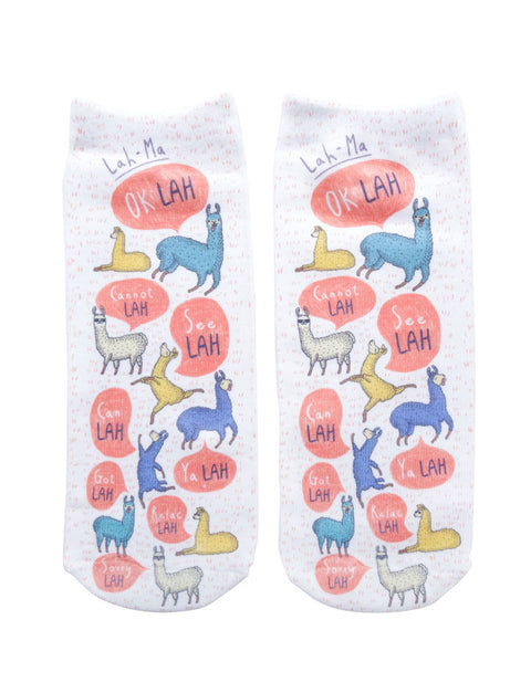 "Singlish ""Lah"" Socks with llama designs"