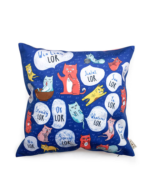 "Singlish ""Lor"" Cushion Cover for home decor in dark blue with cat designs"