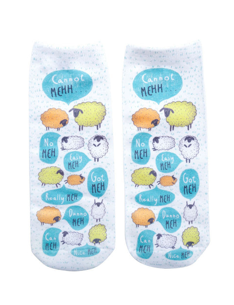 "Singlish ""Meh"" Socks with sheep designs"