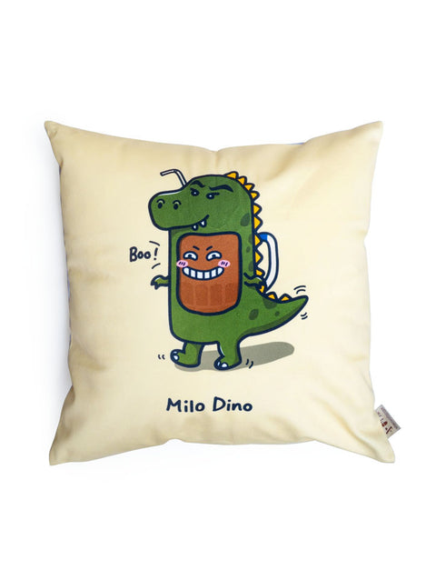 Quirky Singapore Home Decor - Milo Dinosaur square Cushion Cover in beige with dinosaur designs