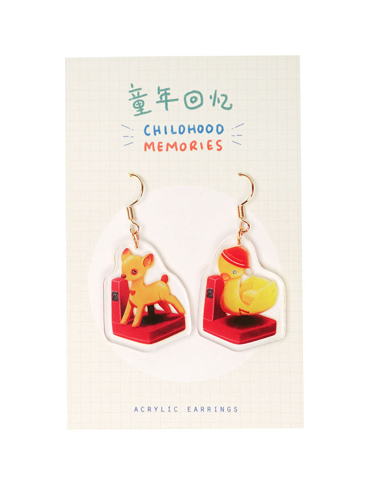 Unique and cute dangling earrings inspired by childhood kiddy rides