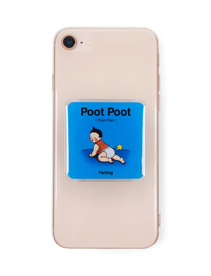 Quirky square pop socket in blue with singlish baby talk - Poot poot