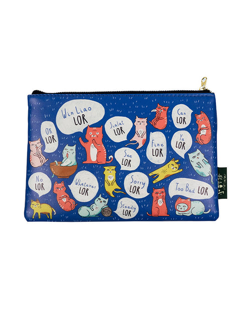 "Singlish ""Lor"" Pouch/Pencil case - rectangular multi-purpose pouch in blue with cat designs"