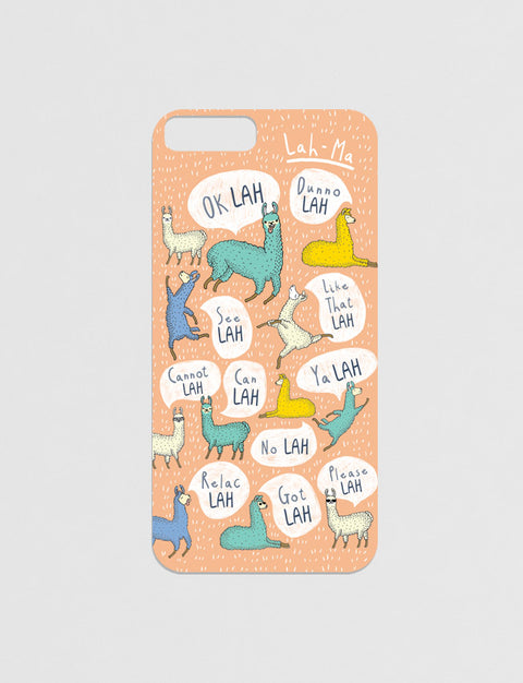 Singlish: Lah Modicase Film for iPhone in peach with llama designs
