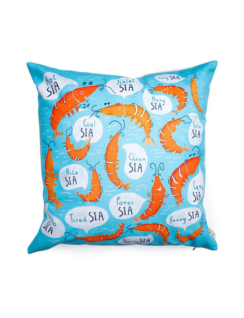 "Singlish ""Sia"" Cushion Covers in blue with prawn designs"