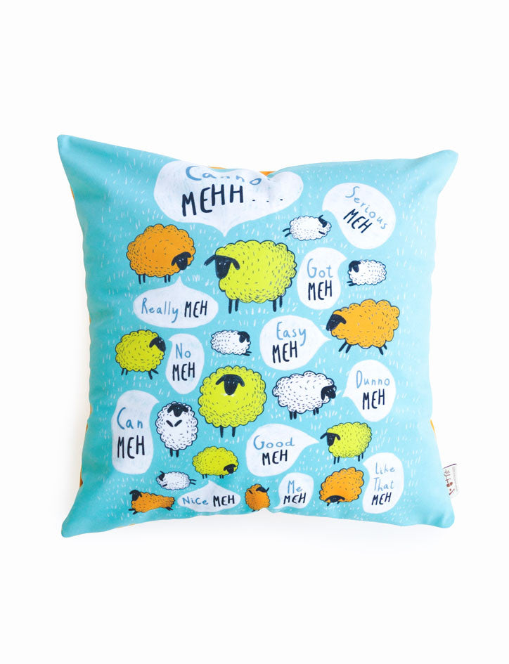 Singlish: Meh - Square Cushion covers in blue