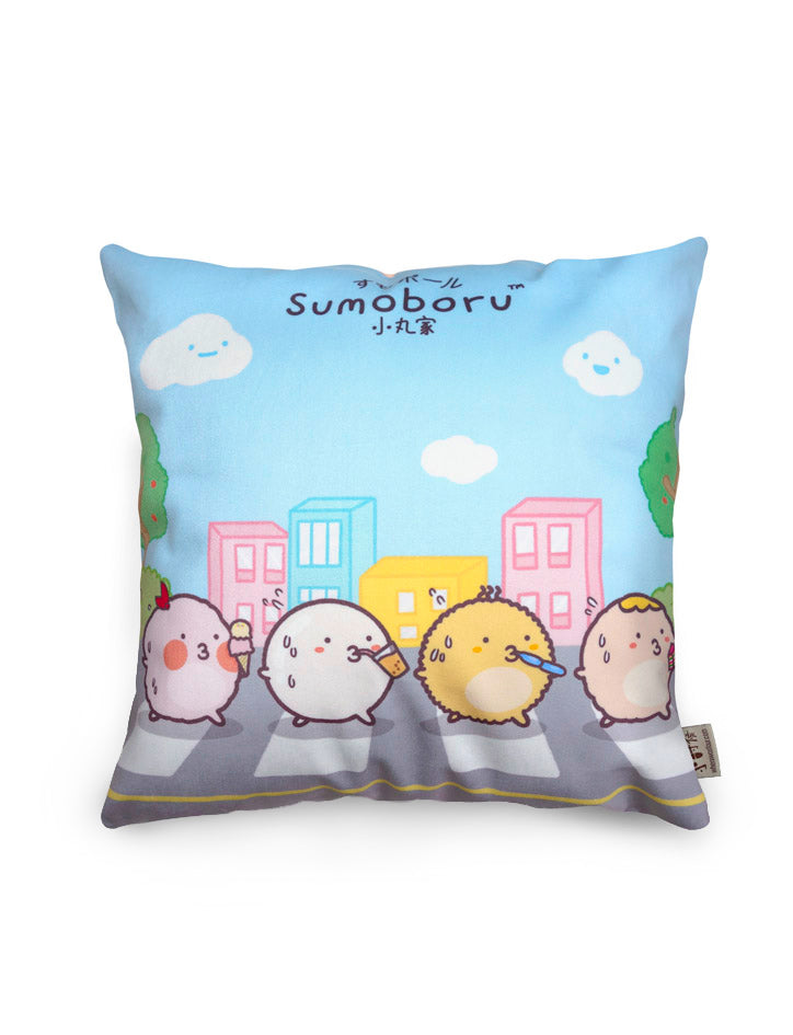 Blue cushion cover with cute characters crossing the road