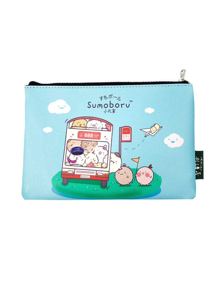 Blue multi-purpose pouch/pencil case with designs of sumoboru fishball characters riding a bus