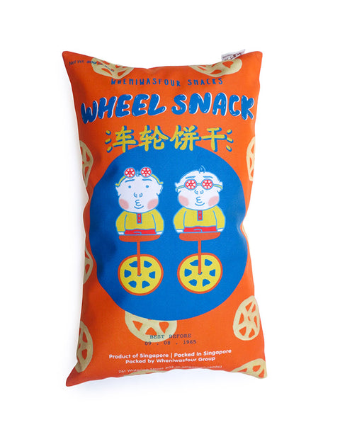 Old-School Singapore Snacks - Potato Wheel Snack Rectangular Cushion Cover in orange