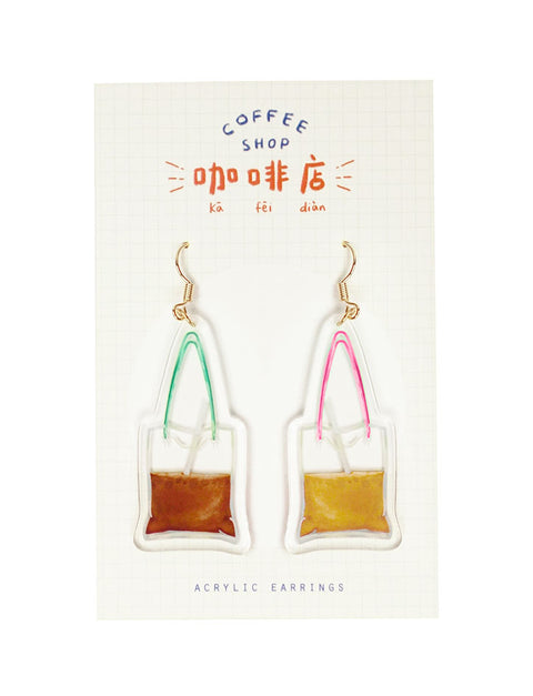 Eccentric coffee shop earrings with dabao kopi design reminiscent of local Singapore drinks