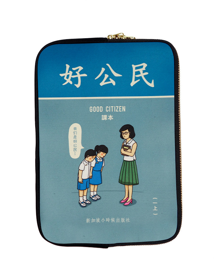 "Blue laptop sleeve with nostalgic ""Good Citizen"" design where students are greeting their teacher"