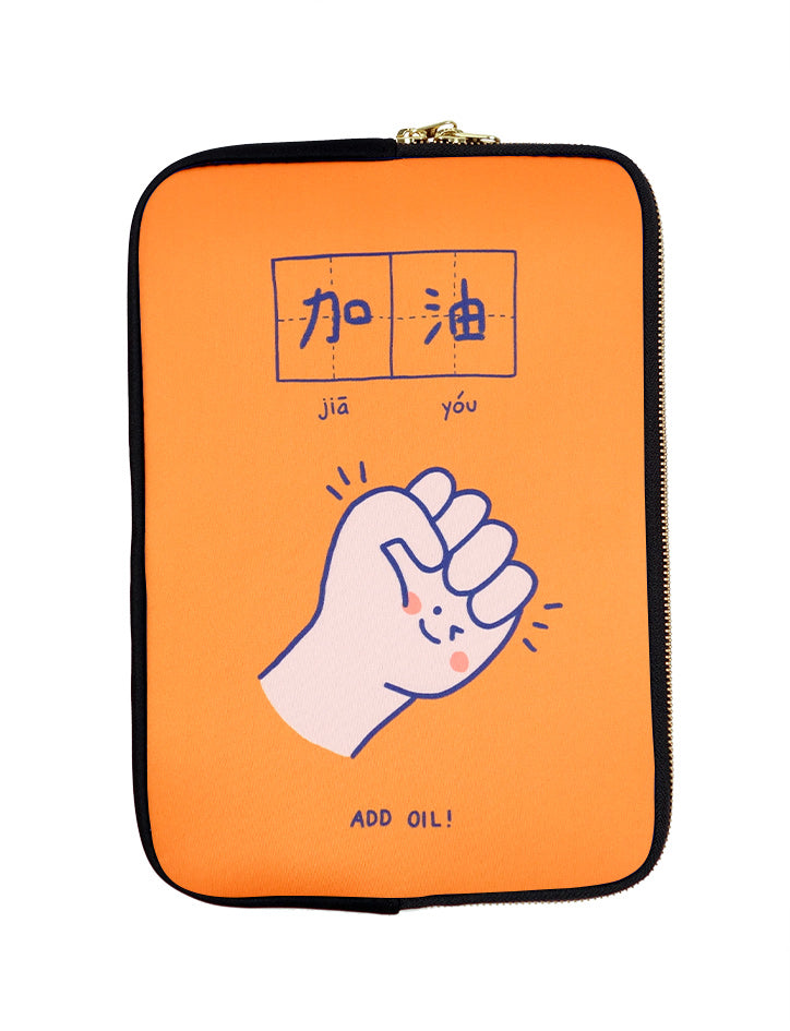Orange and blue motivational laptop sleeve with a fist making a gesture of encouragement - Jia You / Believe