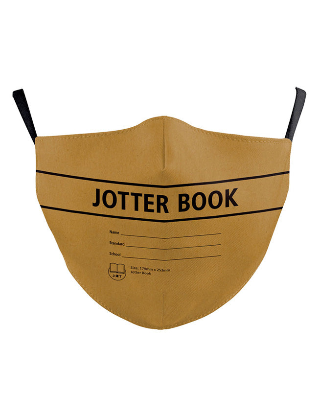 Adult face mask in brown inspired by the nostalgic Jotter Book