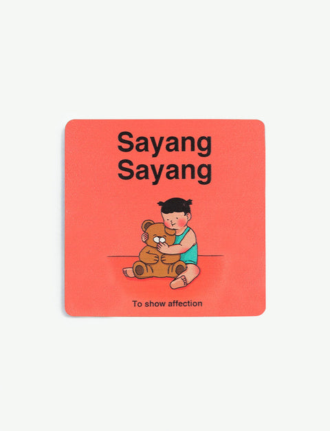 Peach Singlish wooden coasters with a little girl hugging her teddy bear to show affection - Sayang Sayang