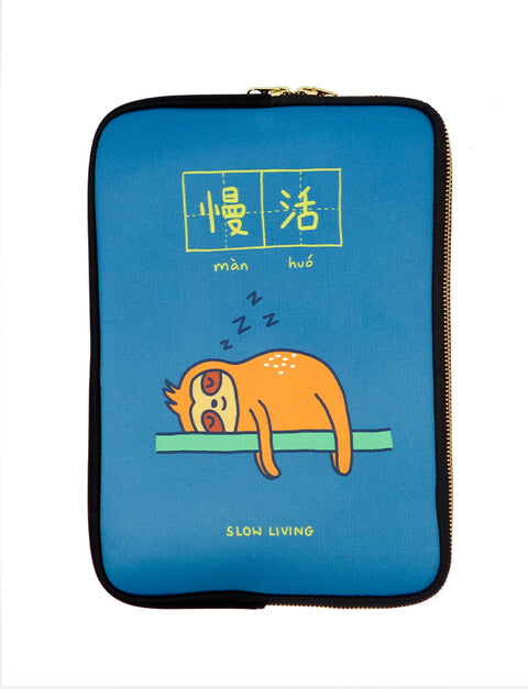 Blue motivational laptop sleeve with a sleeping sloth - slow living