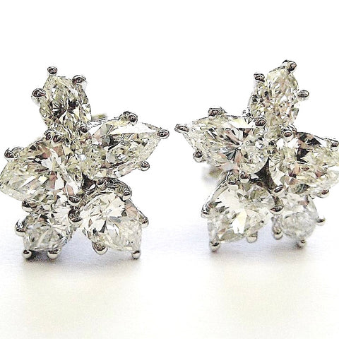 Harry Winston style diamond white gold snowflake earrings