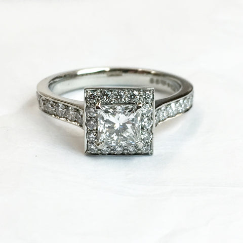 princess cut halo ring handmade in platinum