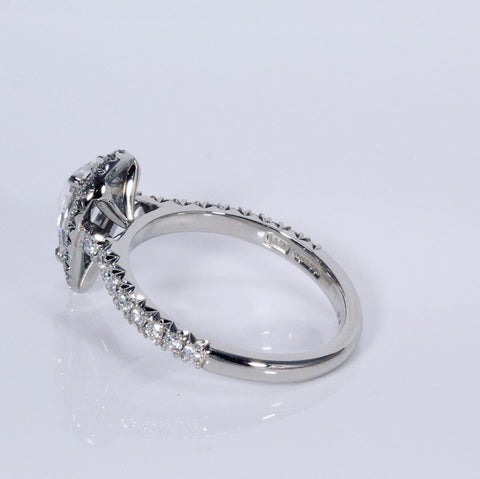 platinum diamond halo ring wed-fit design