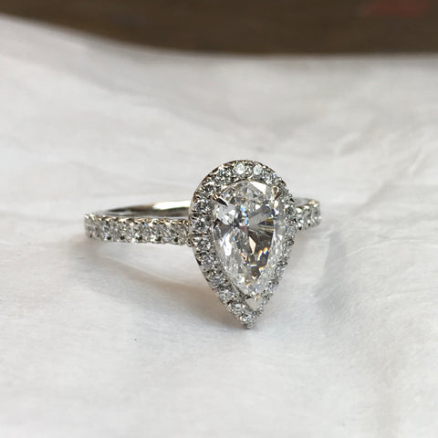 pear shape platinum halo ring