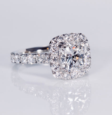 3ct diamond platinum  halo ring with 2ct cushion cut